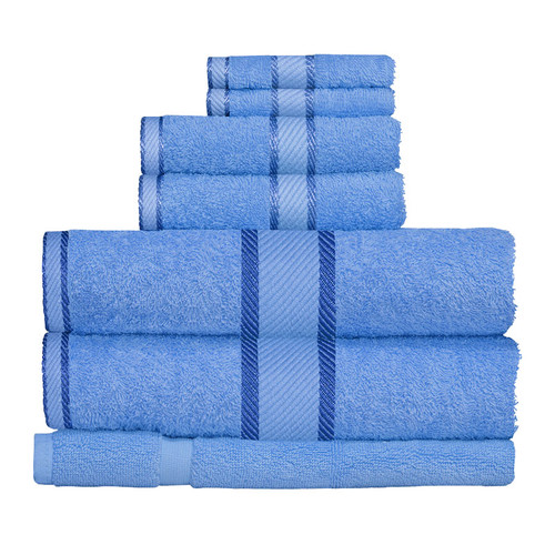 100% Cotton Blue Towels | 7pc Bath Towel Set