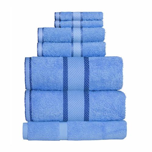 100% Cotton Blue Towels | 7pc Bath Sheet Set