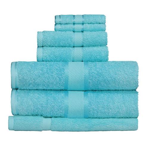 100% Cotton Turquoise Towels | 7pc Bath Towel Set