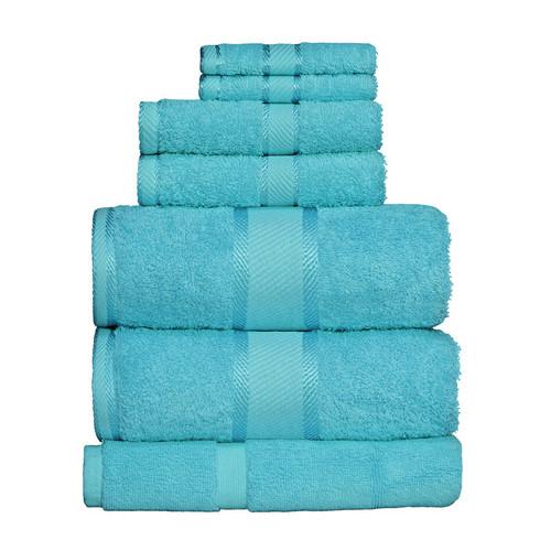 100% Cotton Turquoise Towels | 7pc Bath Sheet Set