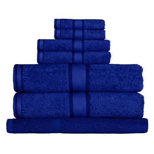 100% Cotton Royal Blue Towels | 7pc Bath Towel Set