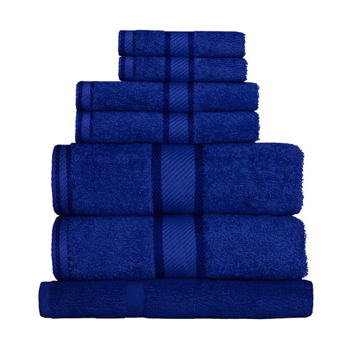 100% Cotton Royal Blue Towels | 7pc Bath Sheet Set