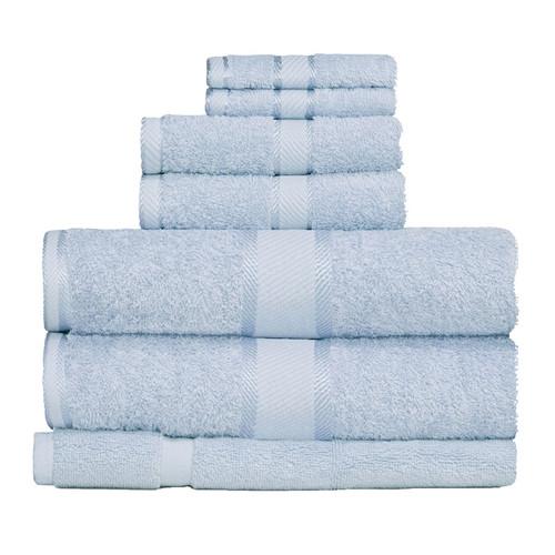 100% Cotton Baby Blue Towels | 7pc Bath Towel Set