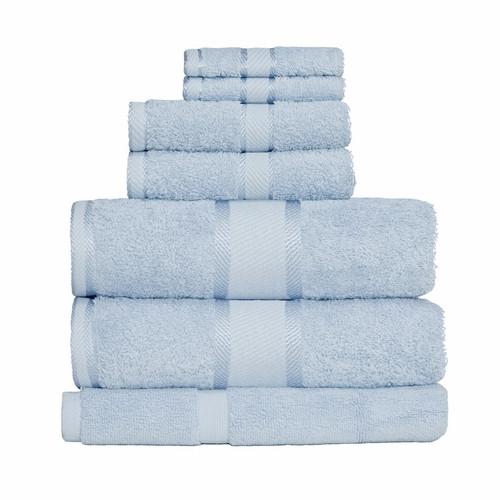 100% Cotton Baby Blue Towels | 7pc Bath Sheet Set