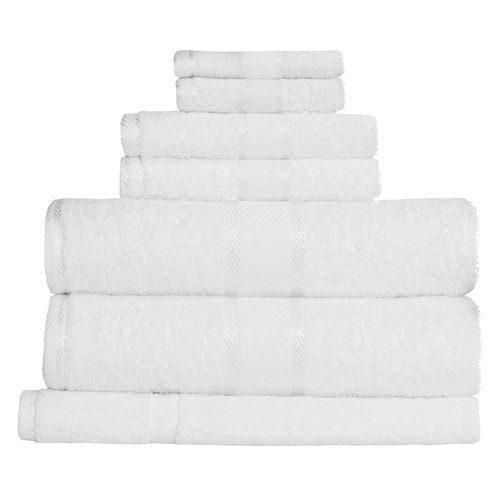 100% Cotton White Towels | 7pc Bath Towel Set