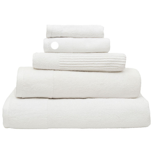 100% Cotton Snow White Ribbed Towels | Hand Towel