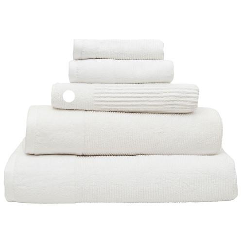 100% Cotton Snow White Ribbed Towels | Bath Mat