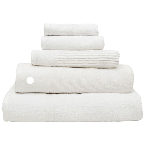 100% Cotton Snow White Ribbed Towels | Bath Towel