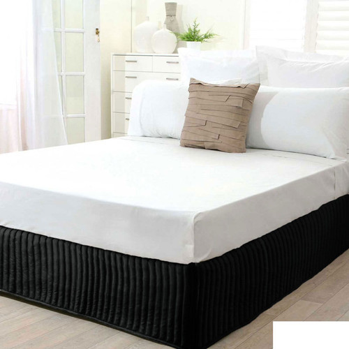 Black Quilted Valance | King Single Bed