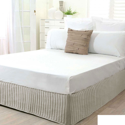 Stone Quilted Valance   Queen Bed
