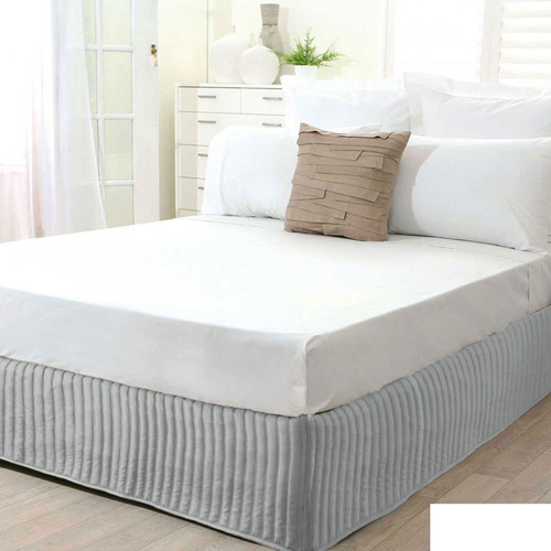 Silver Quilted Valance   King Bed
