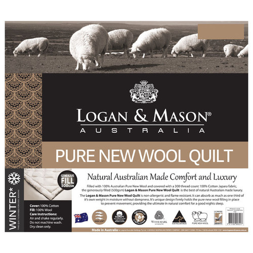 Pure New Wool Quilt / Doona 500GSM | Single Bed