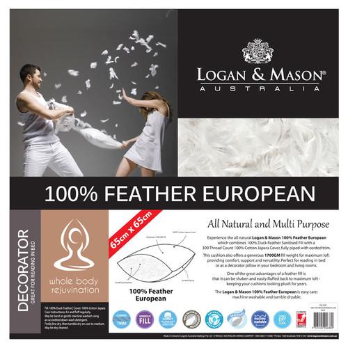 100% Feather European / Decorator Pillow Insert