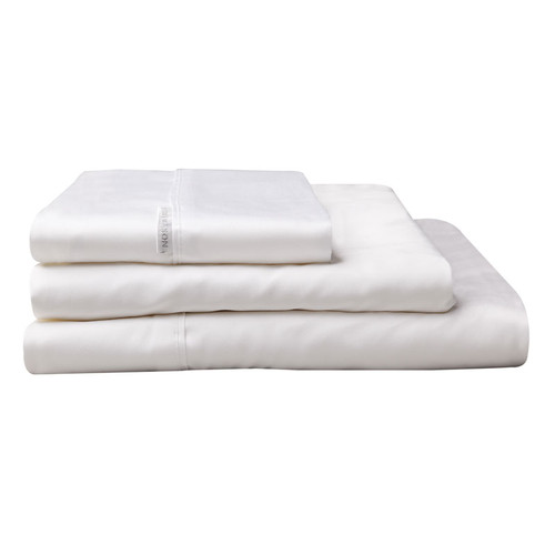 100% Egyptian Cotton Sateen Sheet Set 400TC White | Super King 50cm Bed