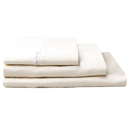 100% Egyptian Cotton Sateen Sheet Set 400TC Vanilla | Super King 50cm Bed