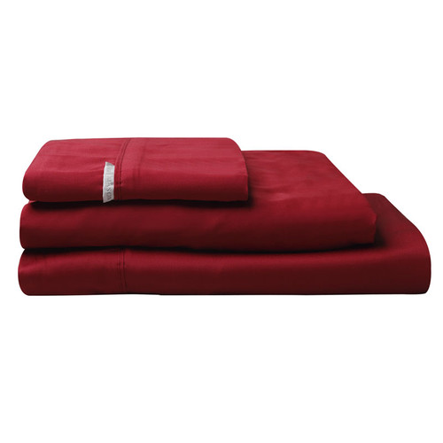 100% Egyptian Cotton Sateen Sheet Set 400TC Ruby | Double Bed