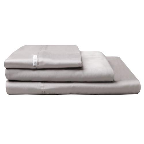100% Egyptian Cotton Sateen Sheet Set 400TC Pewter | King Single Bed