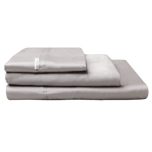 100% Egyptian Cotton Sateen Sheet Set 400TC Pewter | Super King 60cm Bed