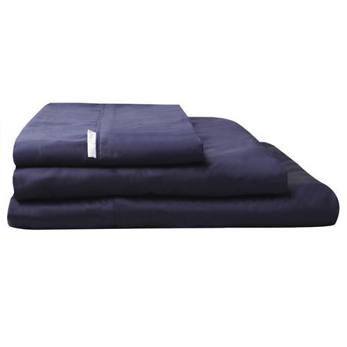 100% Egyptian Cotton Sateen Sheet Set 400TC Navy | King Single Bed