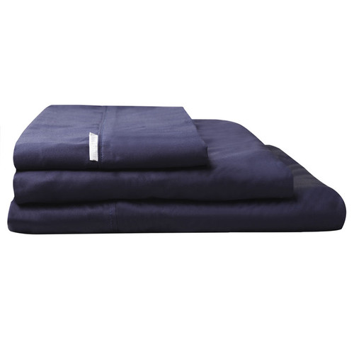 100% Egyptian Cotton Sateen Sheet Set 400TC Navy | Double Bed