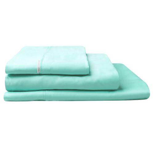 100% Egyptian Cotton Sateen Sheet Set 400TC Mist | Queen Bed