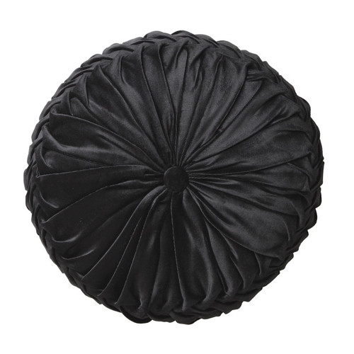 Tempo Black Round Filled Cushion