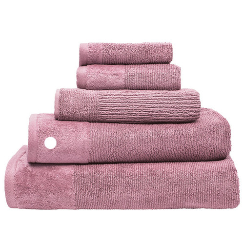 100% Cotton Dusk Pink Ribbed Towels | Bath Towel