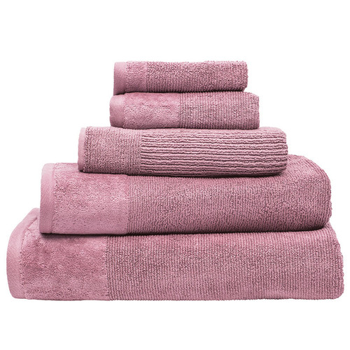 100% Cotton Dusk Pink Ribbed Towels | 7pc Bath Towel Set