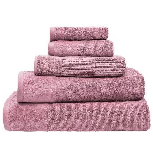 100% Cotton Dusk Pink Ribbed Towels | 7pc Bath Sheet Set