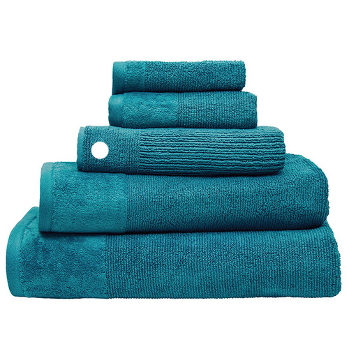 100% Cotton Teal Ribbed Towels | Bath Mat