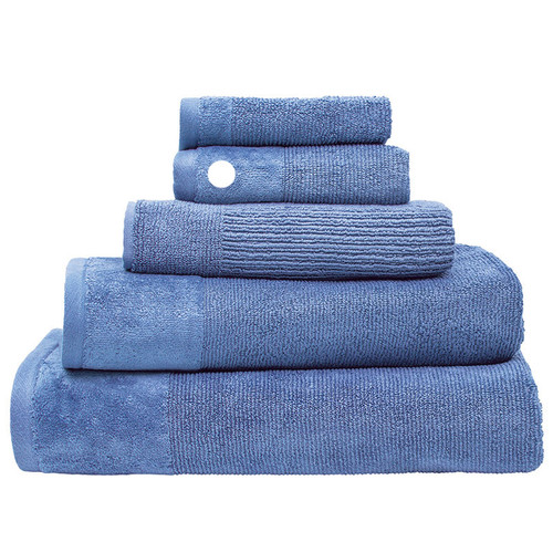 100% Cotton Cornflower Blue Ribbed Towels | Hand Towel