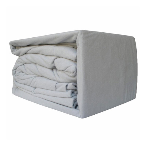 100% Egyptian Cotton Flannelette Sheet Set Silver | King Bed