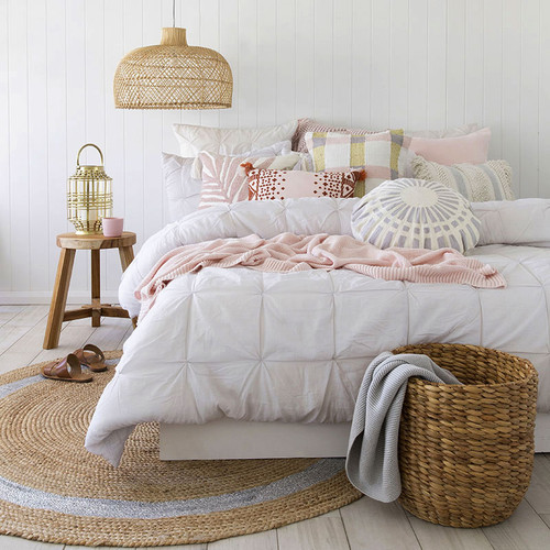 Kalani Grey Quilt Cover Set | Queen Bed