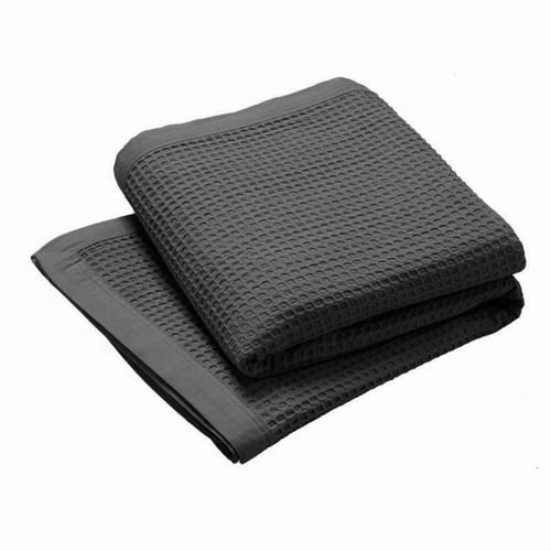 Logan and Mason Charcoal Waffle Blanket | My Linen