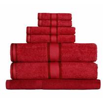 100% Cotton Red 7pc Bath Towel Set
