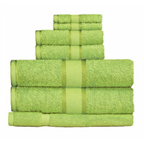 100% Cotton Bright Lime Green 7pc Bath Towel Set