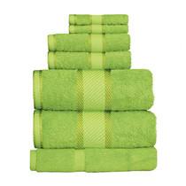 100% Cotton Bright Lime Green 7pc Bath Sheet Set