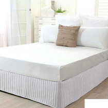 King Single Bed White Quilted Valance