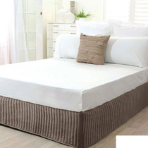 King Single Bed Mocha Quilted Valance
