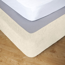 Ivory King Bed Stretch Bed Wrap Valance