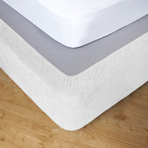 White Queen Bed Stretch Bed Wrap Valance