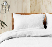 Doux 100% Linen White Quilt Cover Set by Jenny Mclean