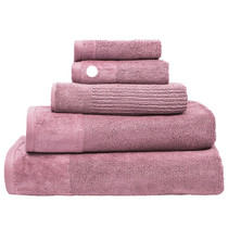 100% Cotton Costa Dusk Pink Ribbed Hand Towel | My Linen