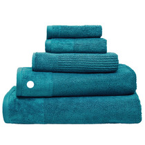 100% Cotton Costa Teal Ribbed Bath Towel | My Linen