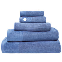 100% Cotton Costa Cornflower Blue Ribbed Hand Towel   My Linen