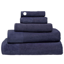 100% Cotton Costa Ink Blue Ribbed Face Washer | My Linen