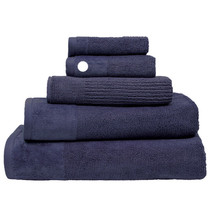 100% Cotton Costa Ink Blue Ribbed Hand Towel | My Linen