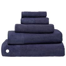 100% Cotton Costa Ink Blue Ribbed Bath Sheet | My Linen
