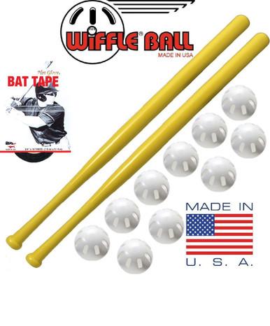 Wiffle ball combo set 10 wiffle balls 2 bats 1 bat tape