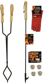 fireplace firepit campfire tool bundle tongs poker gloves firestarters